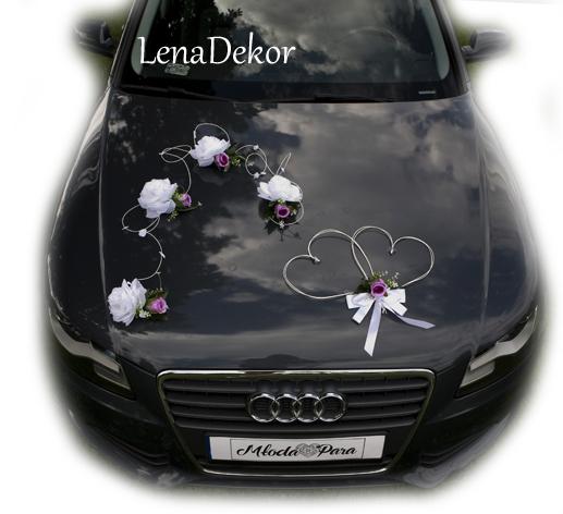 LENA ślubna dekoracja na samochód seria DELUXE wedding car decoration