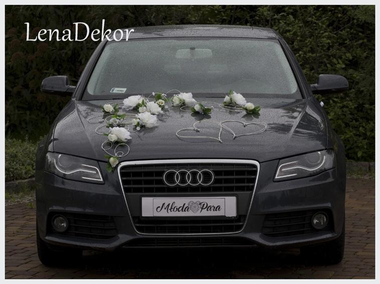 EMILA kremowa - dekoracja samochodu ślubnego wedding car decoration set