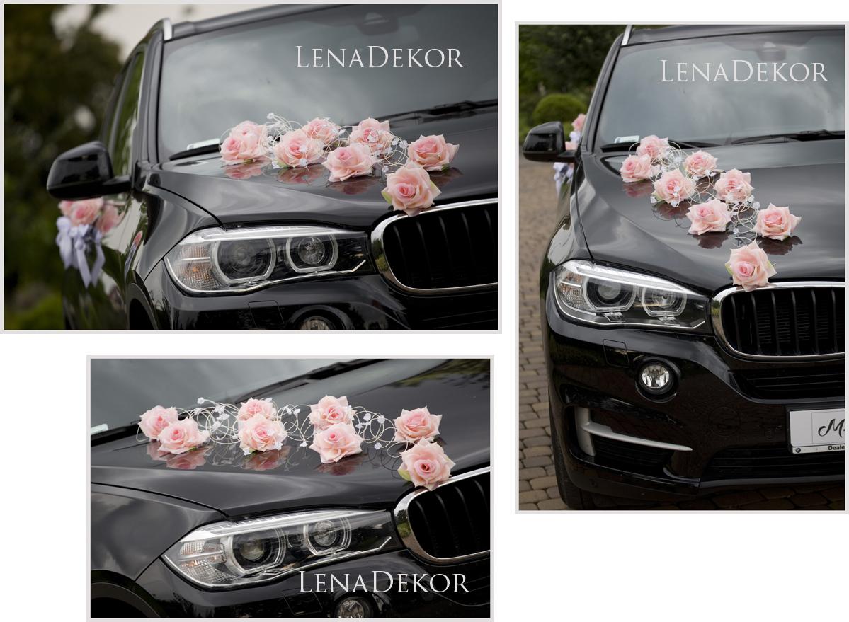 JULKA jasny róż Ozdoba auta ślubnego DELUXE