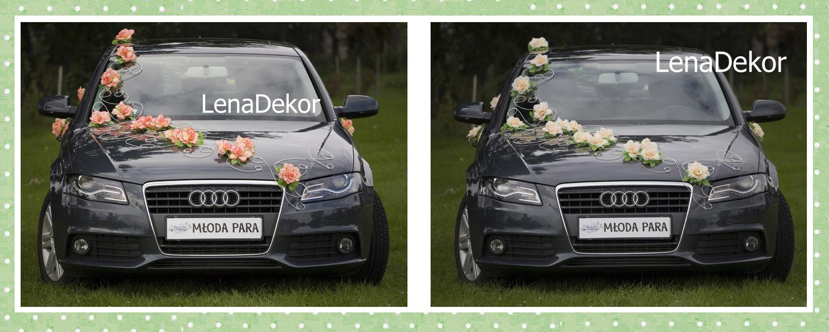PARIS kremowa - dekoracja weselna na samochód