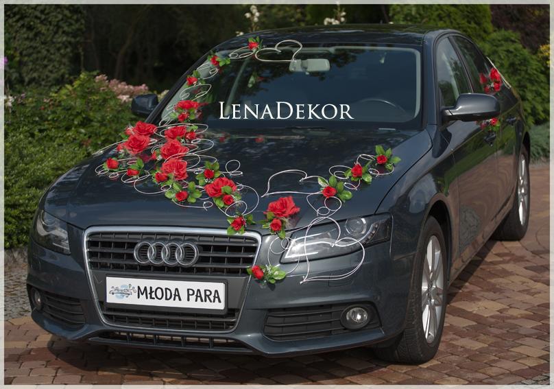 POLA czerwona - ślubna dekoracja na samochód