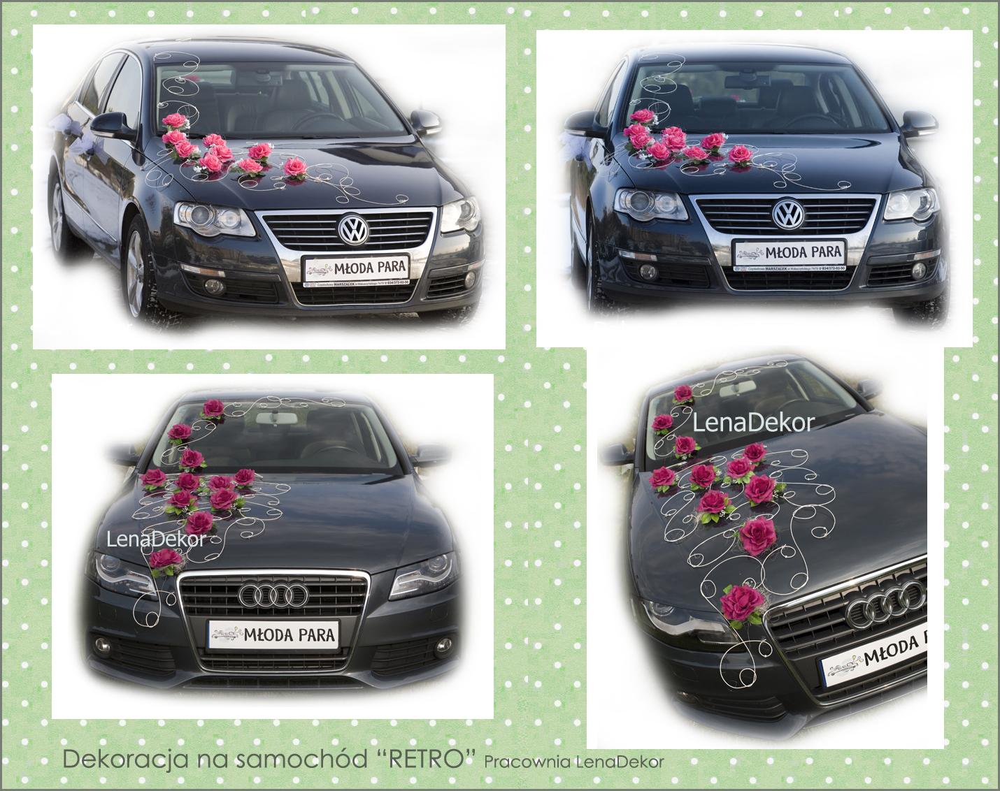Róże RETRO czerwone - wystrój ślubny samochodu