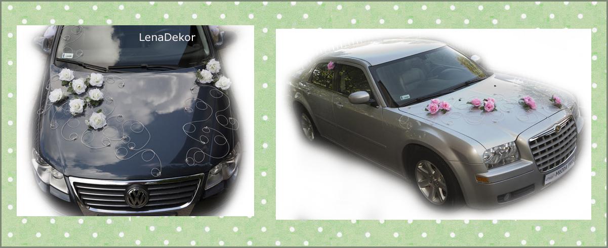 RÓŻE RETRO kremowe - komplet ślubny na samochód