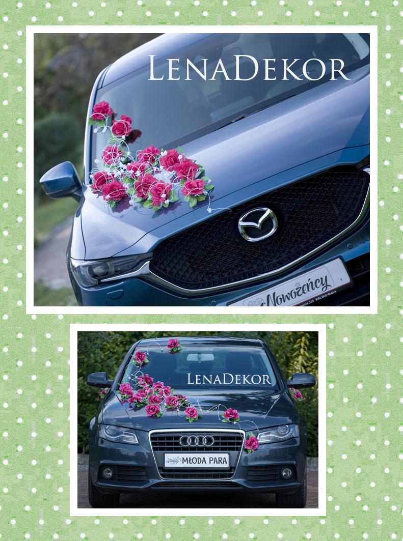 WENECJA amarantowa - ozdoba na samochód ślubny
